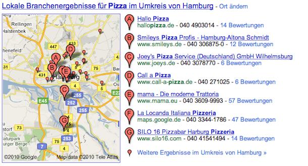 Lokale Ergebnisse in den Google Suchergebnissen.