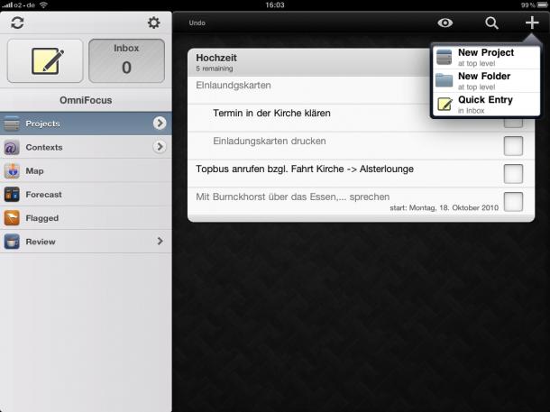 OmniFocus auf dem iPad