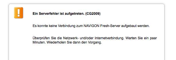 Navigon Fresh Serverfehler CG2009