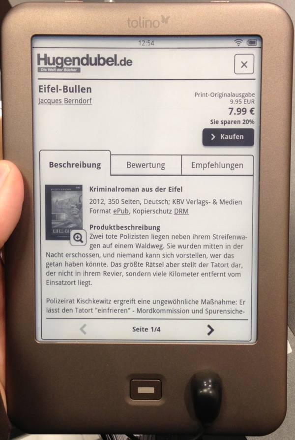 tolino shine e book reader von thalia hugendubel und der telekom. Black Bedroom Furniture Sets. Home Design Ideas
