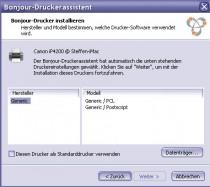 Bonjour Drucker Assistent unter Windows - Treiberauswahl