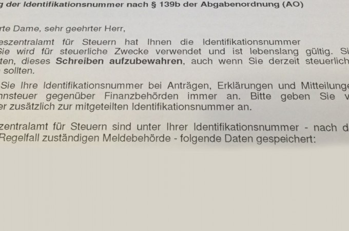 Brief Steuer Identifikationsnummer